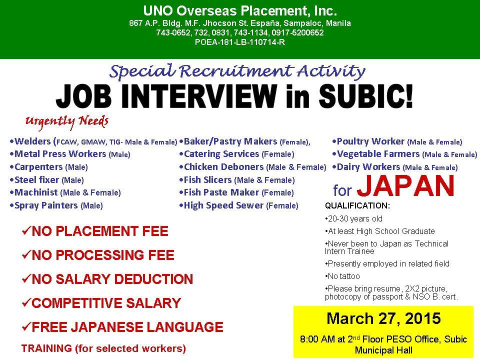 job openings in japan