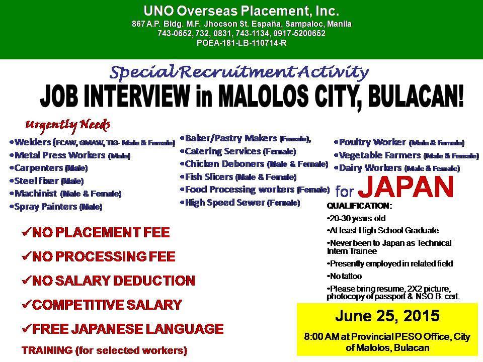 japan job openings in bulacan