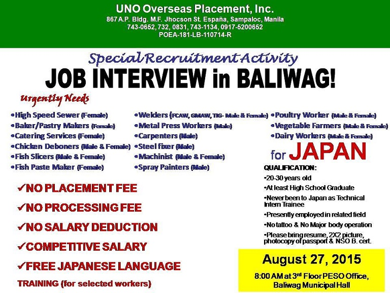 japan jobs in baliwag bulacan