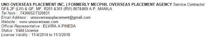 uno overseas aplacement agency poea status