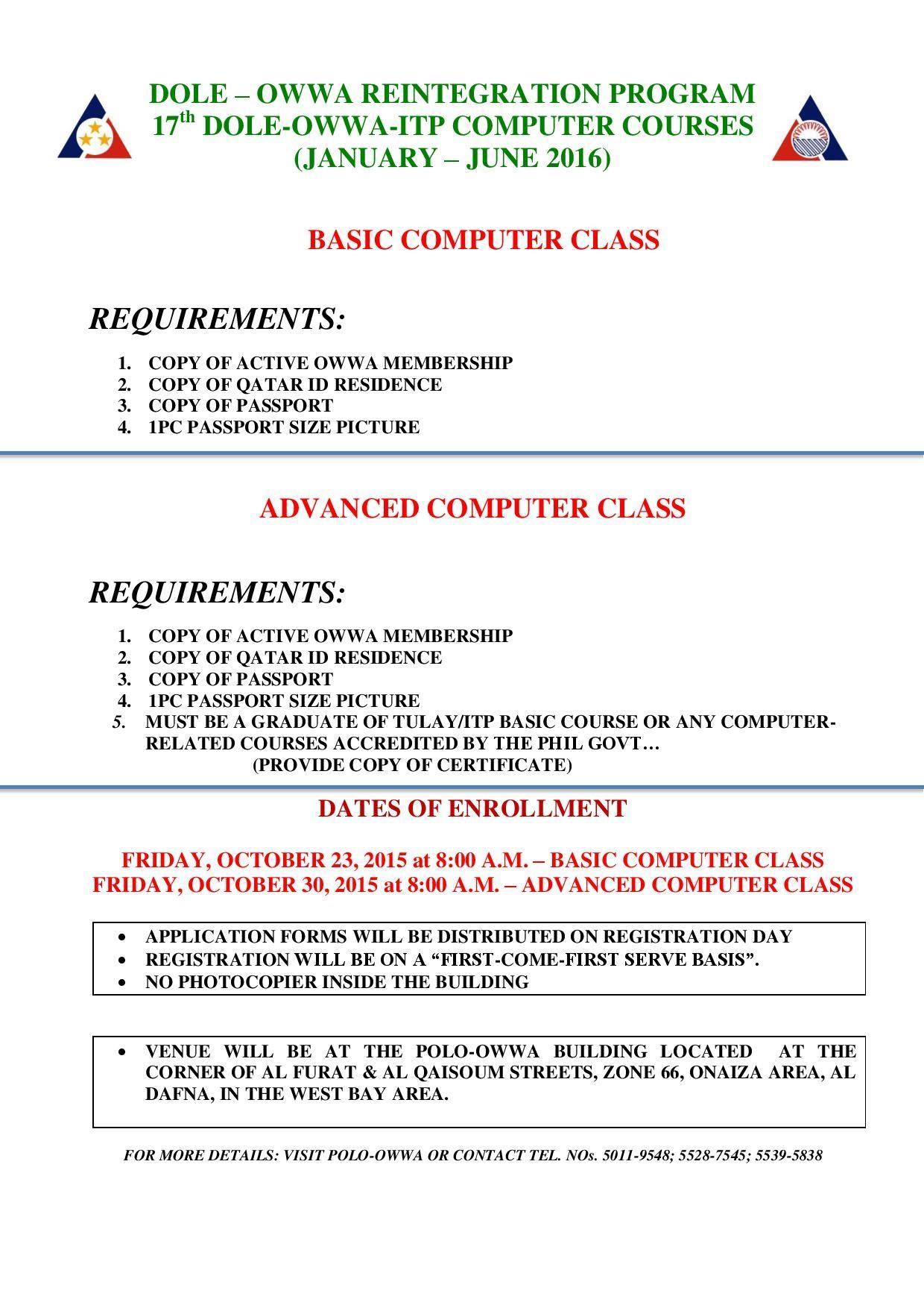 DOLE-OWWA Reintergration Program 17th Computer Courses Program
