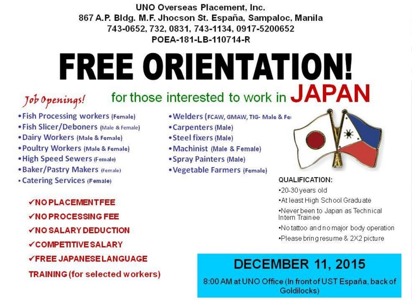 UNO JOBS IN JAPAN ORIENTATION