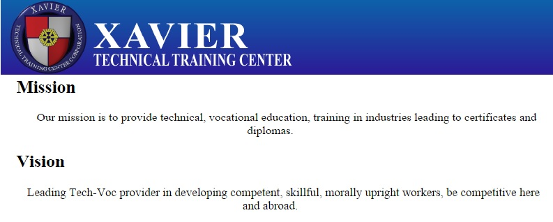 Xavier Technical Training Center Corporation mission and vision