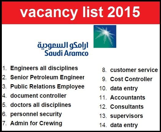 saudi aramco job vacancy