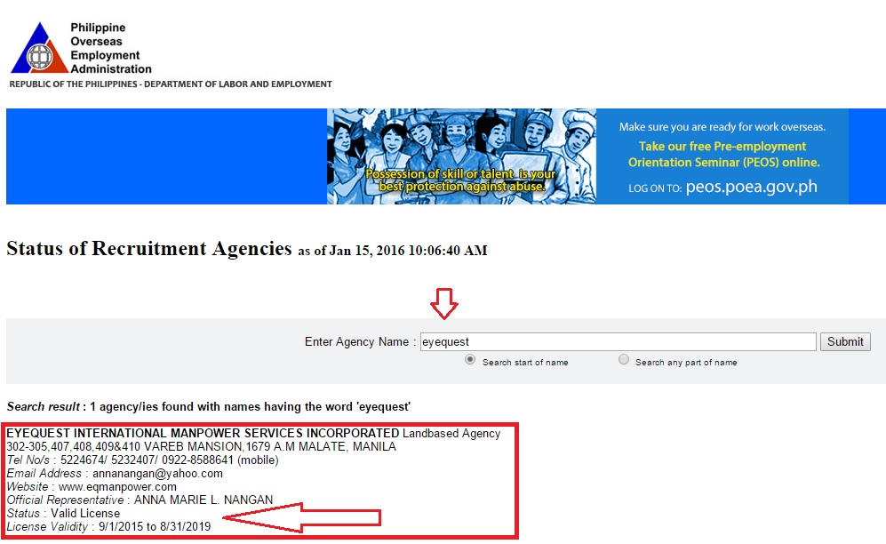 How to Verify Agency in POEA