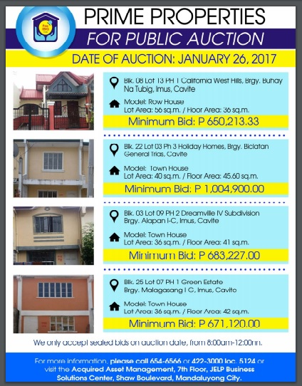 PAG-IBIG FORECLOSED PROPERTIES FOR SALE AND AUCTION THIS
