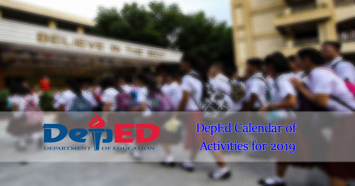 deped calendar of activities for 2019